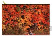 Mother And Son Canoeing Near Fall Carry-all Pouch