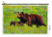 Mother Bear And Cub In Meadow Carry-all Pouch