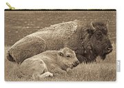 Mother Buffalo And Calf Sepia Carry-all Pouch