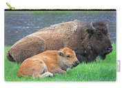 Mother Buffalo And Calf Yellowstone Carry-all Pouch