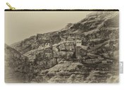 Mount Of The Temptation Monestary Jericho Israel Antiqued Carry-all Pouch