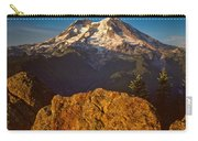 Mount Rainier At Sunset With Big Boulders In Foreground Carry-all Pouch