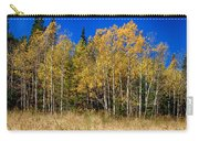 Mountain Grasses Autumn Aspens In Deep Blue Sky Carry-all Pouch