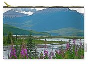 Mountains And Fireweed Along North Sascatchewan River Along Icefield Parkway-ab Carry-all Pouch