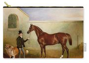 Mr Meakin Holding Sir Robert Peels Chestnut Hunter With His Dogs Hector And Jem Carry-all Pouch