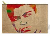 Muhammad Ali Watercolor Portrait On Worn Distressed Canvas Carry-all Pouch