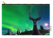 Mule Deer And Aurora Borealis Over Taiga Forest Carry-all Pouch