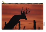 Mule Deer Buck Jumping Fence At Sunset Carry-all Pouch