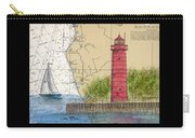 Muskegon Lighthouse Mi Nautical Chart Map Art Cathy Peek Carry-all Pouch