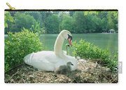 Mute Swan Parent And Chicks On Nest Carry-all Pouch by Konrad Wothe