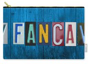My Fancave License Plate Letter Vintage Phrase Artwork On Blue Wood Carry-all Pouch