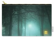Mysterious Man In Fog With House And Window Light Carry-all Pouch