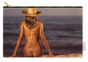 Naked Woman Sitting At The Beach On Sand Carry-all Pouch