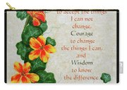 Nasturtiums And Serenity Prayer Carry-all Pouch