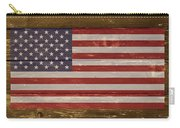United States Of America National Flag On Wood Carry-all Pouch