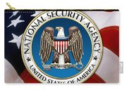 National Security Agency - N S A Emblem Emblem Over American Flag Carry-all Pouch