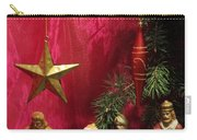 Nativity Scene In Red Carry-all Pouch