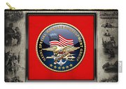 Naval Special Warfare Development Group - D E V G R U - Emblem Over Navy S E A Ls Collage Carry-all Pouch