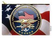 Naval Special Warfare Development Group - D E V G R U - Emblem Over U. S. Flag Carry-all Pouch