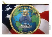 Naval Special Warfare Group Four - N S W G-4 - Over U. S. Flag Carry-all Pouch
