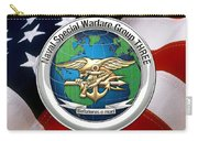 Naval Special Warfare Group Three - N S W G-3 - Over U. S. Flag Carry-all Pouch