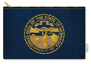 Nebraska State Flag Art On Worn Canvas Carry-all Pouch by Design Turnpike