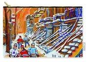Neighborhood Street Hockey Game Last Call Time For Dinner  Montreal Winter Scene Art Carole Spandau Carry-all Pouch