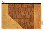 Nevada Word Art State Map On Canvas Carry-all Pouch