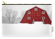 New England Red Barn In Winter Snow Storm Carry-all Pouch