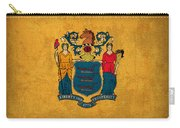 New Jersey State Flag Art On Worn Canvas Carry-all Pouch