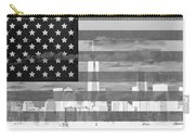 New York City On American Flag Black And White Carry-all Pouch