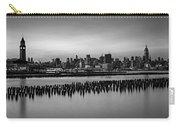 New York City Skyline Stillness Bw Carry-all Pouch