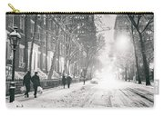 New York City - Winter Night In The Snow At Washington Square  Carry-all Pouch by Vivienne Gucwa