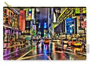 New York Lights In Rain Carry-all Pouch