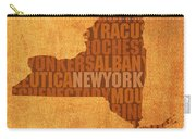 New York Word Art State Map On Canvas Carry-all Pouch