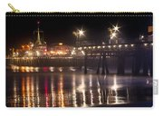 Night On Santa Monica Beach Pier With Bright Colorful Lights Reflecting On The Ocean And Sand Fine A Carry-all Pouch