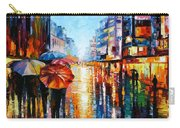 Night Umbrellas - Palette Knife Oil Painting On Canvas By Leonid Afremov Carry-all Pouch
