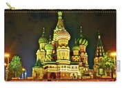 Night View Of Saint Basil Cathedral In Red Square In Moscow-russia Carry-all Pouch