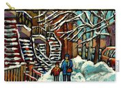 No School Today Out For A Snowy Walk Verdun Winter Winding Staircases Montreal Paintings C Spandau Carry-all Pouch