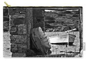 Vintage Boat Framed In Nature Of Minorca Island - Waiting  Carry-all Pouch
