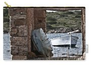 Vintage Boat Framed In Nature Of Minorca Island - Hide And Seek Carry-all Pouch