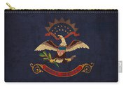 North Dakota State Flag Art On Worn Canvas Carry-all Pouch