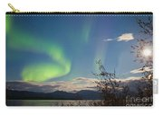 Northern Lights Full Moon Over Lake Laberge Yukon Carry-all Pouch