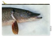 Northern Pike Fish On Snow, Close Carry-all Pouch