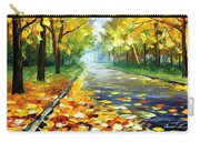 November Alley - Palette Knife Landscape Autumn Alley Oil Painting On Canvas By Leonid Afremov - Siz Carry-all Pouch