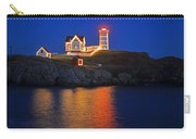 Nubble Light In York Me Cape Neddick Christmas Blue Sky Carry-all Pouch