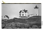 Nubble Lighthouse Cape Neddick Maine Black And White Carry-all Pouch