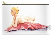 Nude Model Gesture Xiv Resting On Red Carry-all Pouch