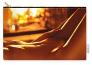 Nude Shiny Woman Body In Front Of Fireplace Carry-all Pouch