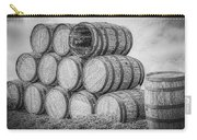 Oak Wine Barrels Black And White Carry-all Pouch